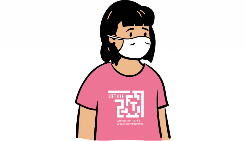 Cartoon of a person wearing a white face covering and white t-shirt with LIFT OFF Logo