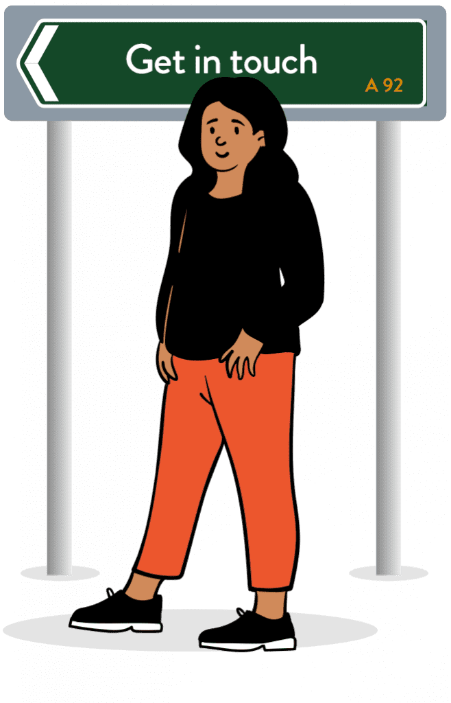 Cartoon woman wearing black top and orange trousers standing in front of a road sign reading Get in touch