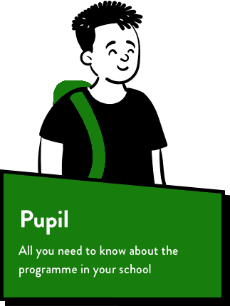Cartoon peep with green rucksack. Text reads, Pupil All you need to know about the programme in your school,