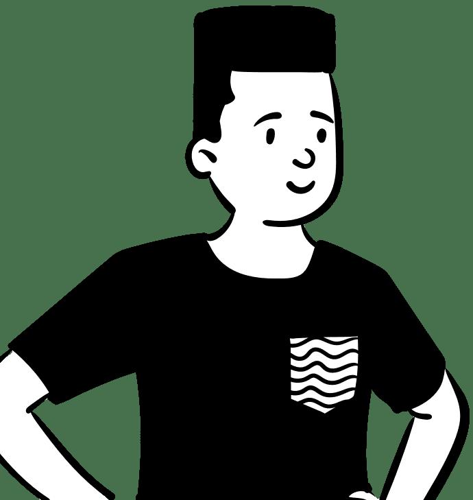 Black and White Cartoon of man wearing a black tshirt